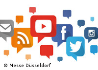 Graphic: various logos of Social Media; © Messe Düsseldorf