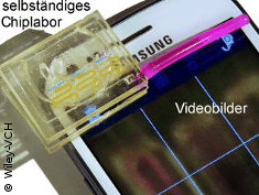 Foto: Handy mit Lab-on-a-chip-Aufsatz